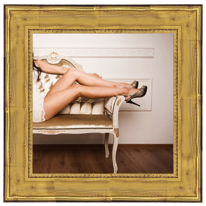 Canvas Printed Gold Deep Scoop Framed Boudoir Photo